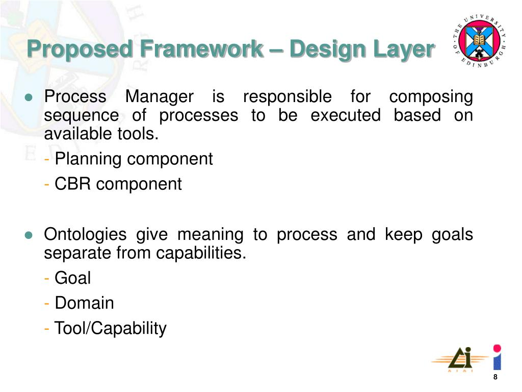 Process Manager is responsible for composing sequence of processes to be executed based on available tools.