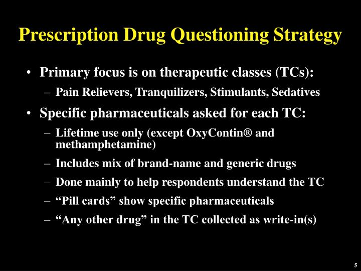 Prescription Drug Questioning Strategy
