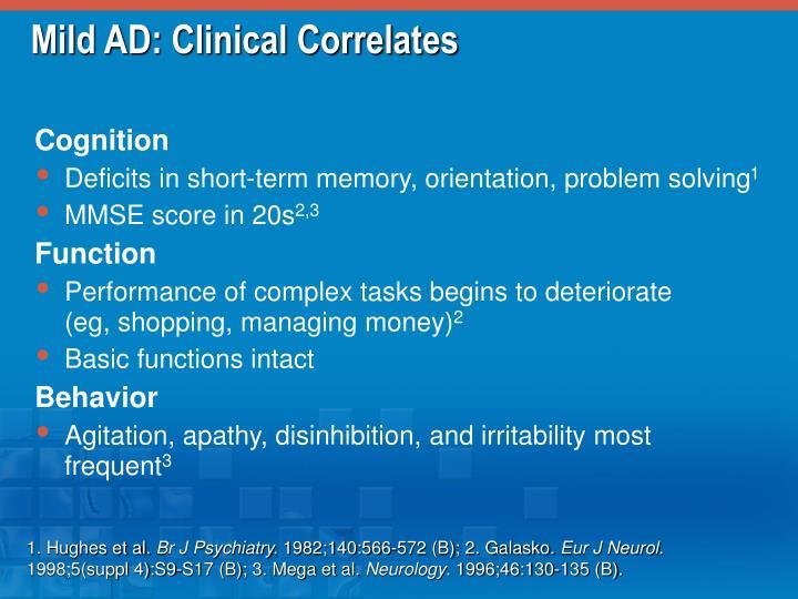 Mild AD: Clinical Correlates