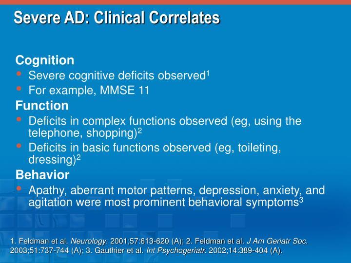 Severe AD: Clinical Correlates