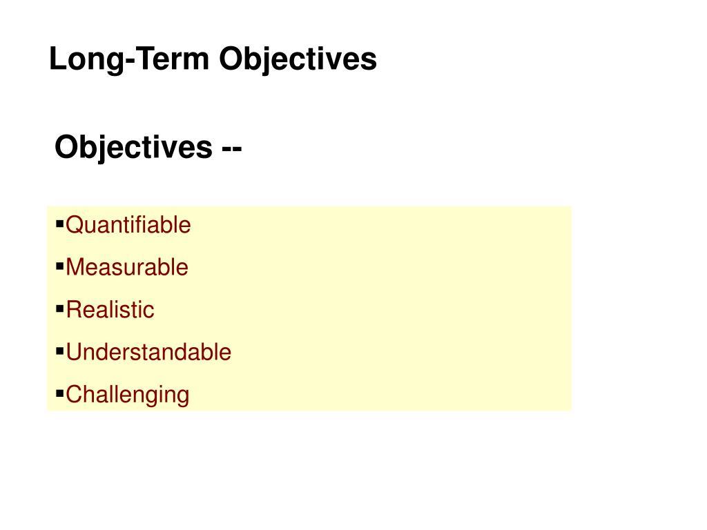 Long-Term Objectives