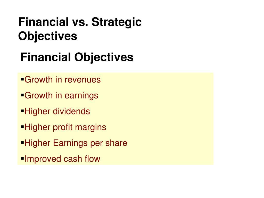 Financial vs. Strategic Objectives