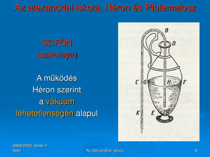 Az alexandriai iskola. Héron és Ptolemaiosz