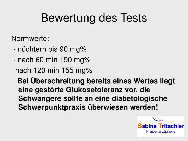 Bewertung des Tests