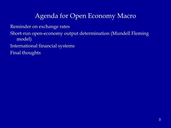 Agenda for Open Economy Macro
