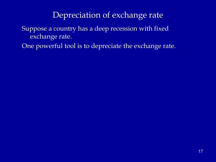 Depreciation of exchange rate