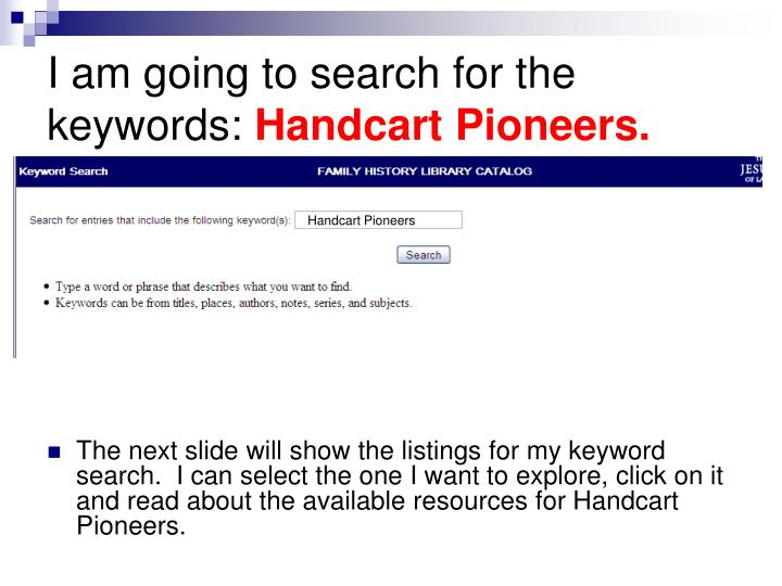 I am going to search for the keywords: