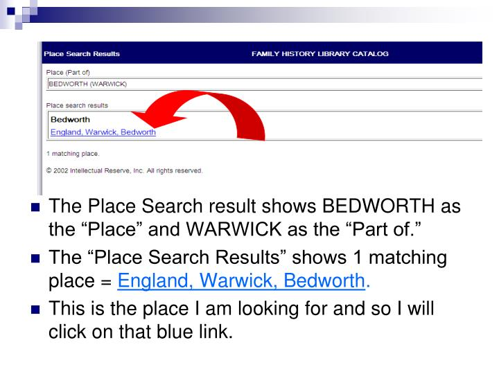 "The Place Search result shows BEDWORTH as the ""Place"" and WARWICK as the ""Part of."""