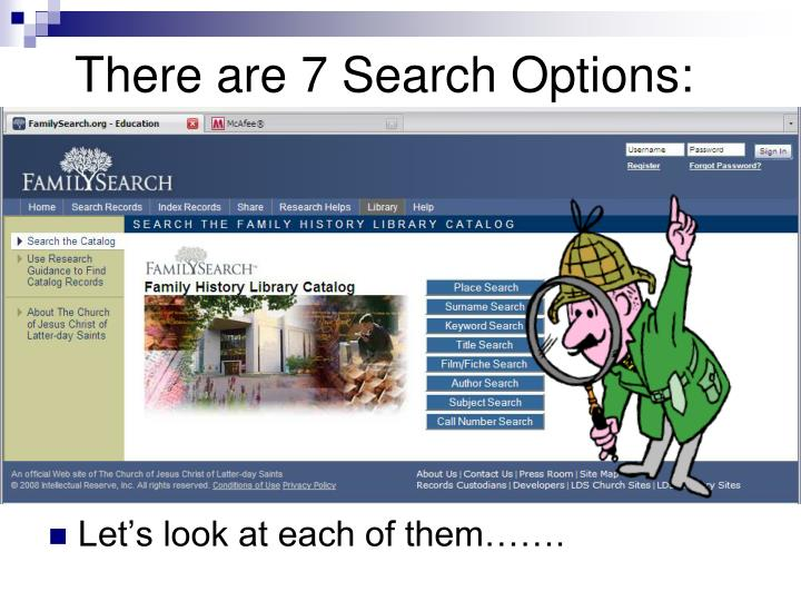 There are 7 Search Options: