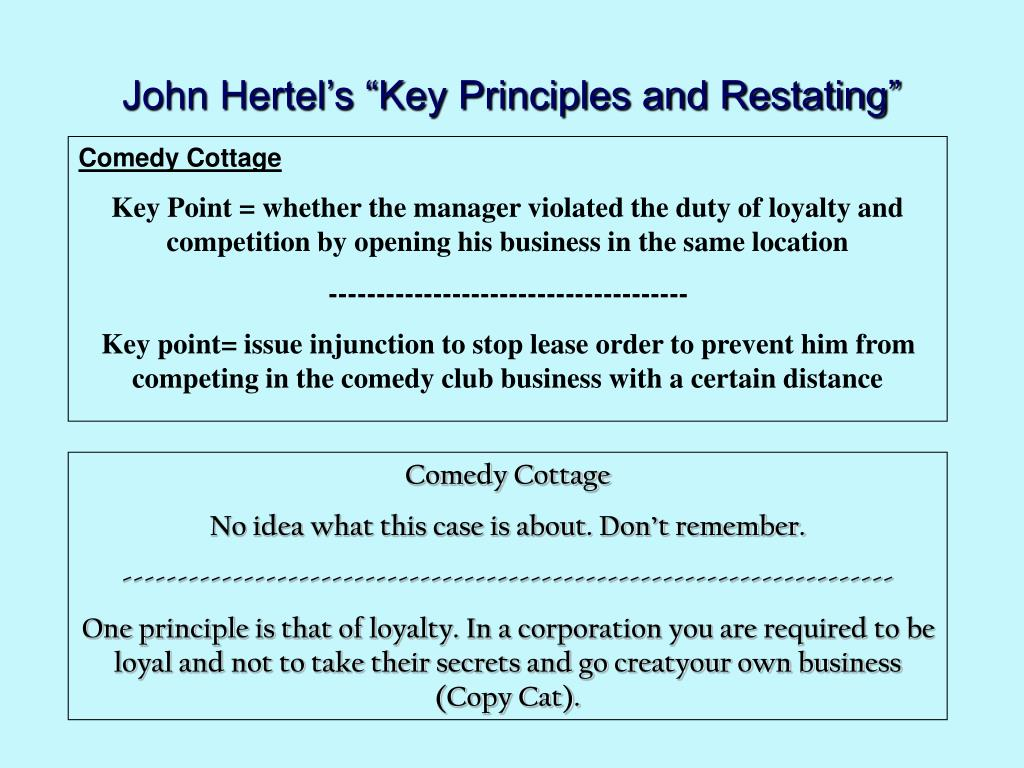 "John Hertel's ""Key Principles and Restating"""