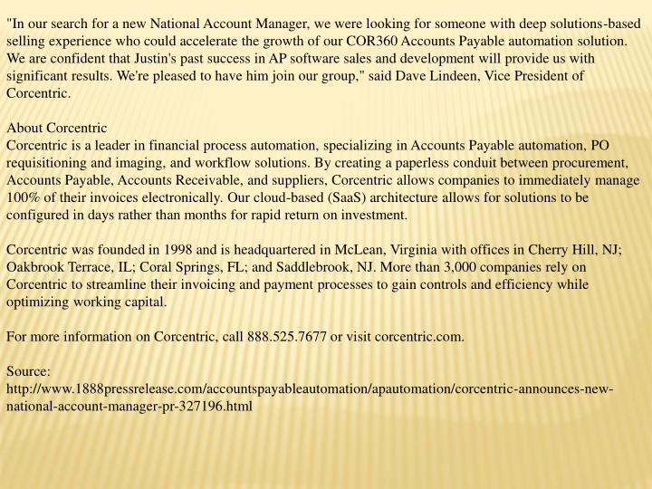 """In our search for a new National Account Manager, we were looking for someone with deep solutions-b..."