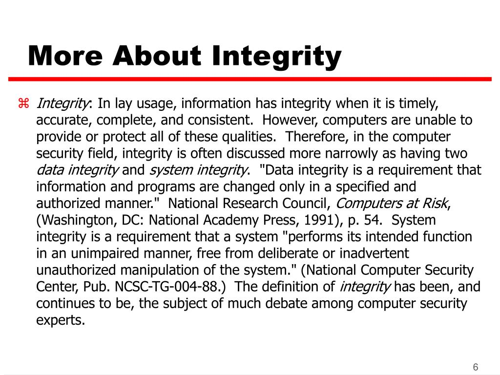 More About Integrity