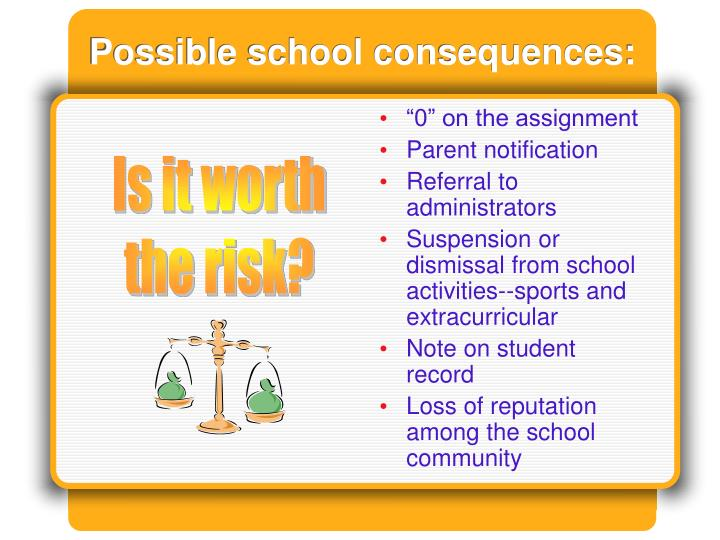 Possible school consequences: