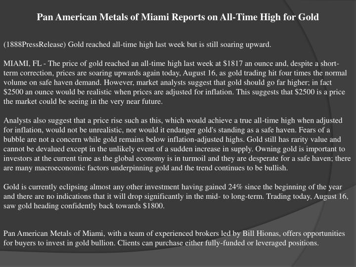 Pan American Metals of Miami Reports on All-Time High for Gold