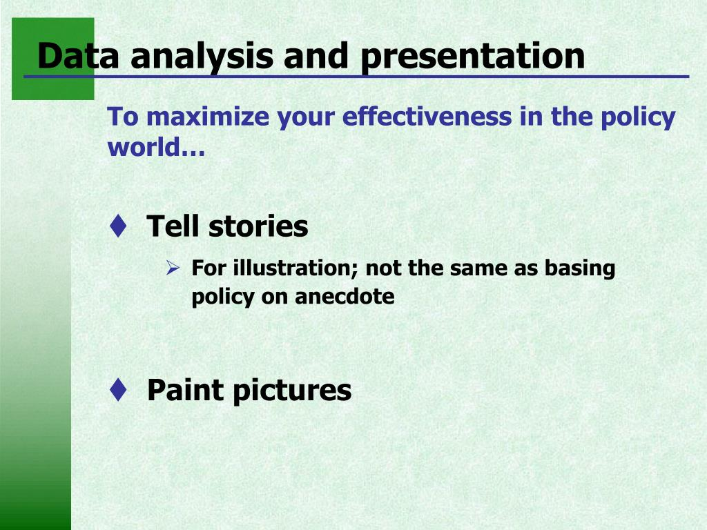 Data analysis and presentation