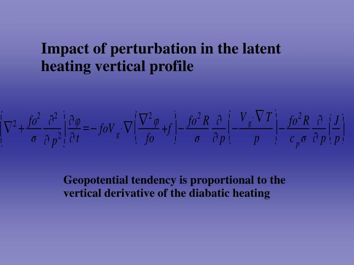 Impact of perturbation in the latent heating vertical profile