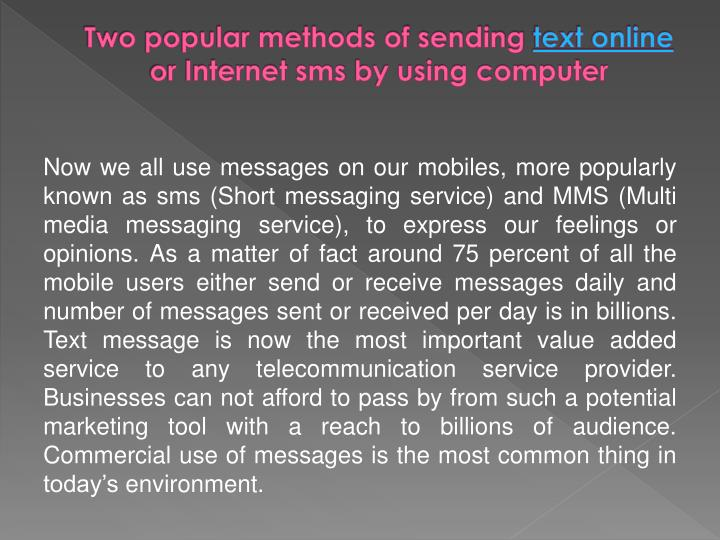 Two popular methods of sending text online or internet sms by using computer3