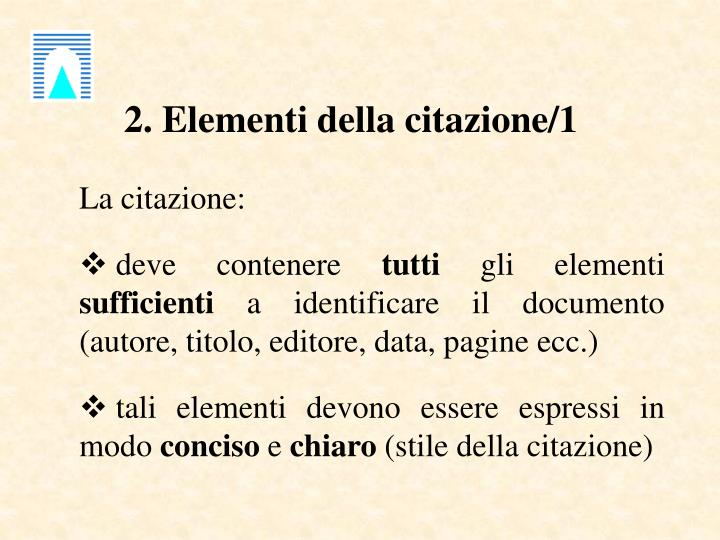 2. Elementi della citazione/1