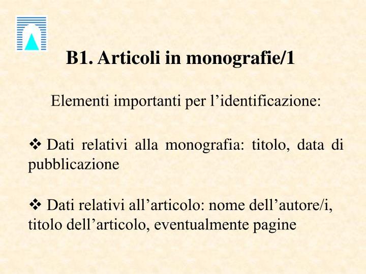 B1. Articoli in monografie/1