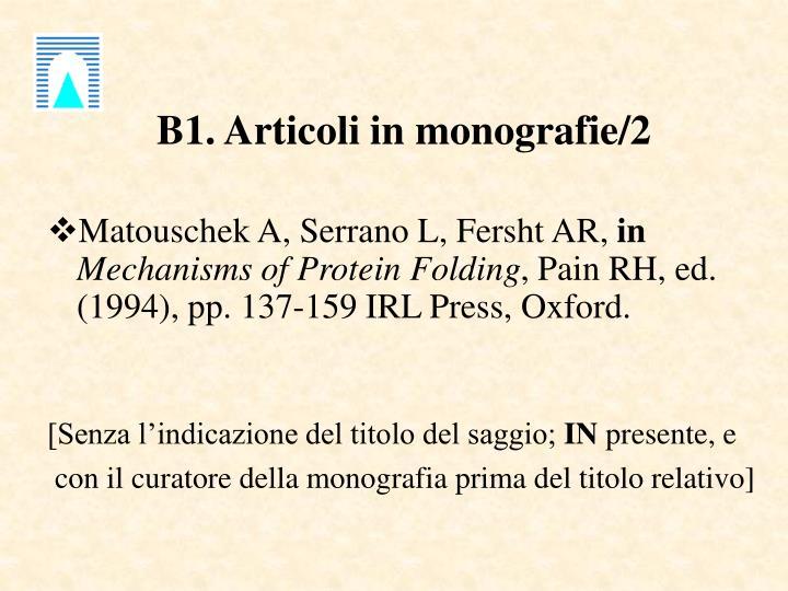 B1. Articoli in monografie/2