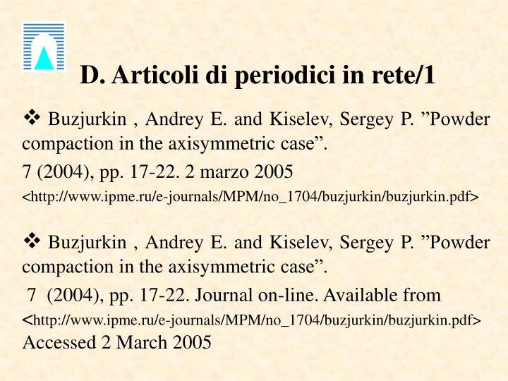 D. Articoli di periodici in rete/1