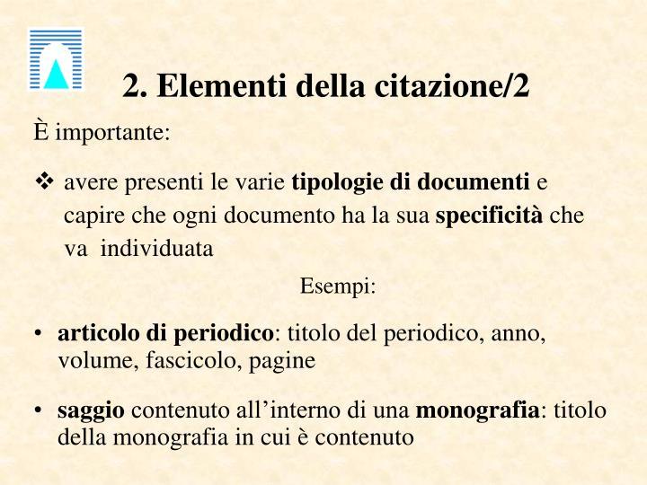 2. Elementi della citazione/2