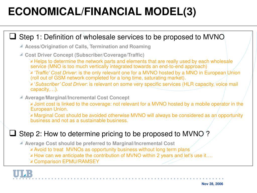 ECONOMICAL/FINANCIAL MODEL(3)