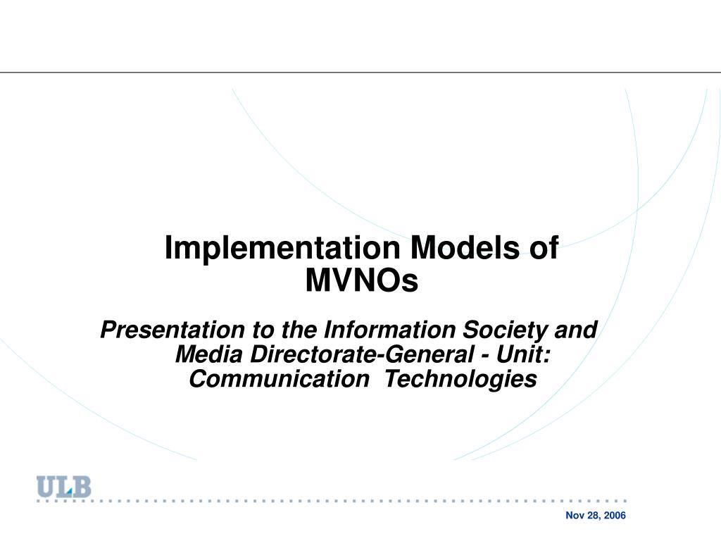 Implementation Models of MVNOs
