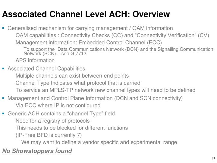 Associated Channel Level ACH: Overview