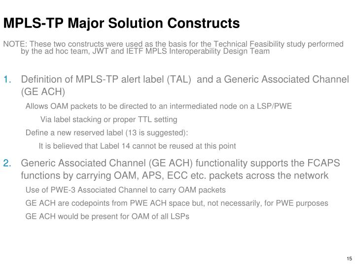 MPLS-TP Major Solution Constructs