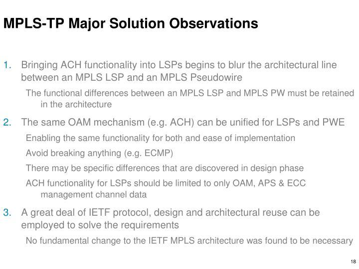 MPLS-TP Major Solution Observations
