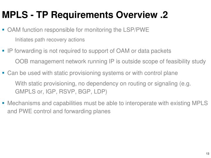 MPLS - TP Requirements Overview .2
