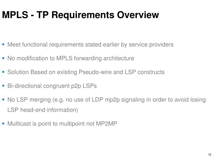 MPLS - TP Requirements Overview
