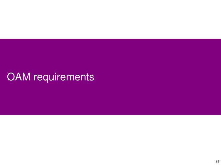 OAM requirements