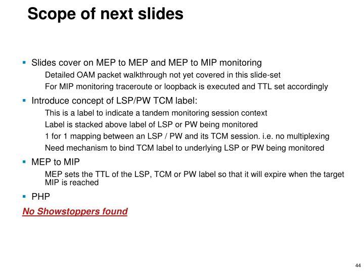 Scope of next slides