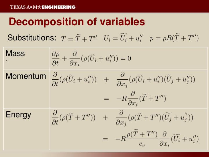 Decomposition of variables