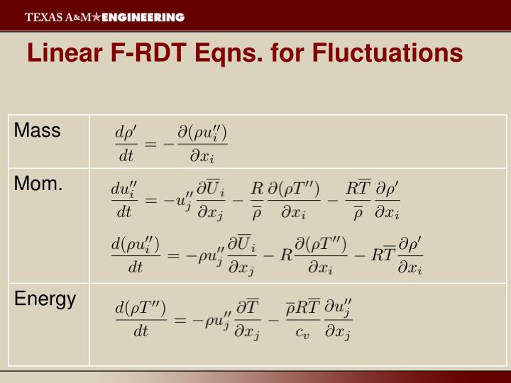 Linear F-RDT Eqns. for Fluctuations