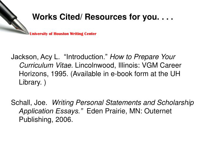 Works Cited/ Resources for you. . . .