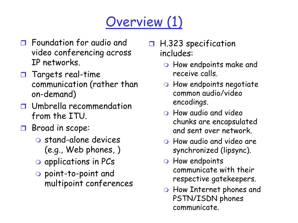Foundation for audio and video conferencing across IP networks.