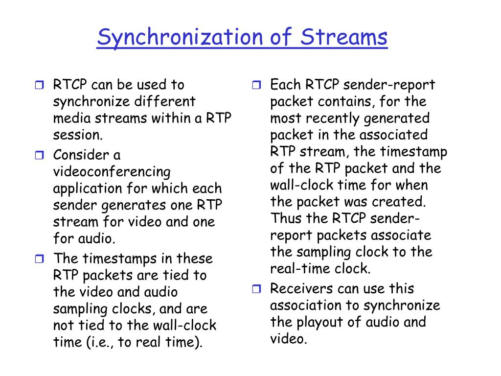 RTCP can be used to synchronize different media streams within a RTP session.