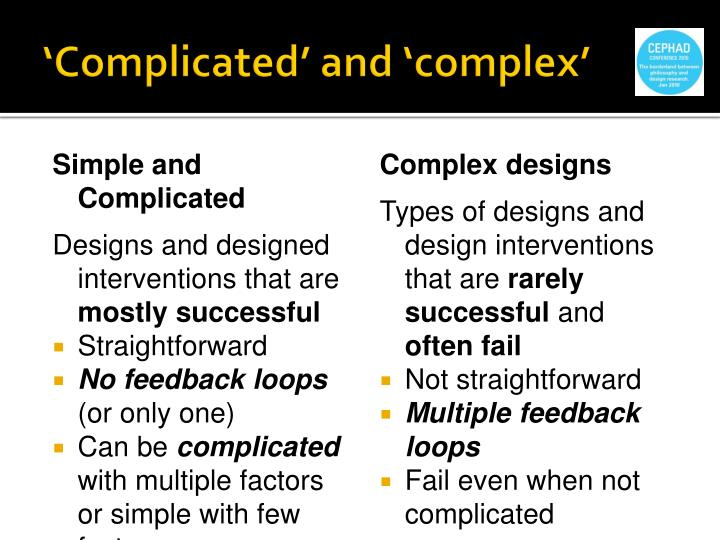 'Complicated' and 'complex'