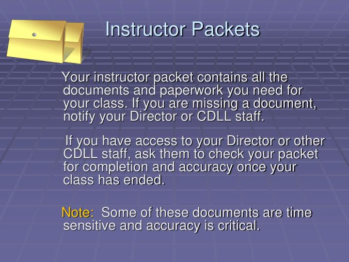 Instructor Packets