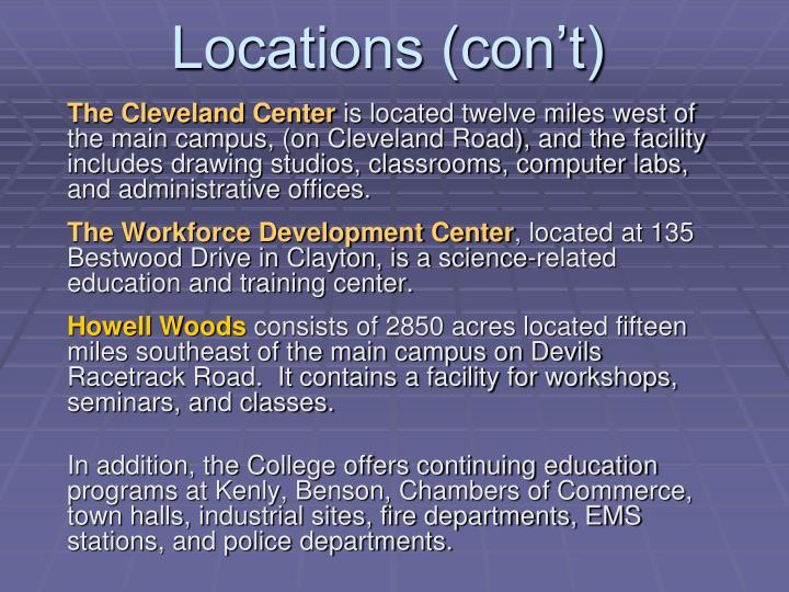 Locations (con't)