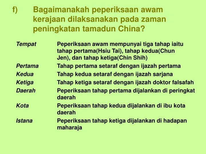 f)Bagaimanakah peperiksaan awam kerajaan dilaksanakan pada zaman peningkatan tamadun China?
