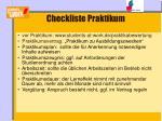 checkliste praktikum