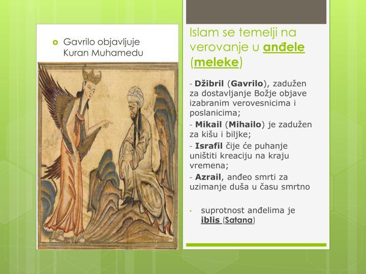 Gavrilo objavljuje Kuran Muhamedu