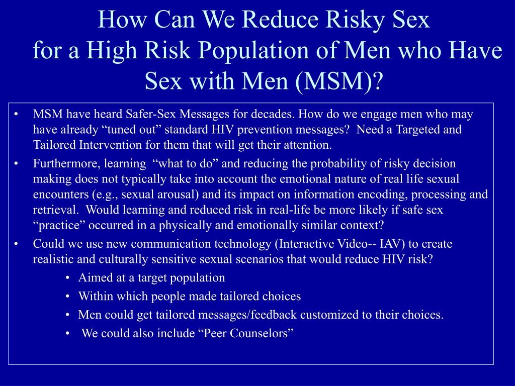 How Can We Reduce Risky Sex