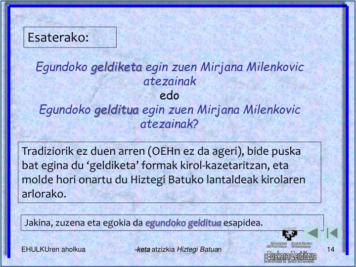 Esaterako: