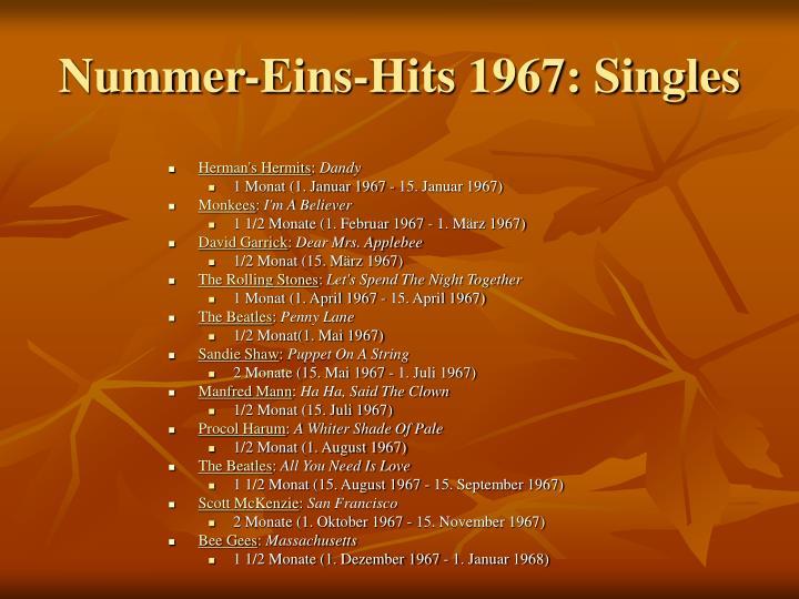 Nummer-Eins-Hits 1967: Singles