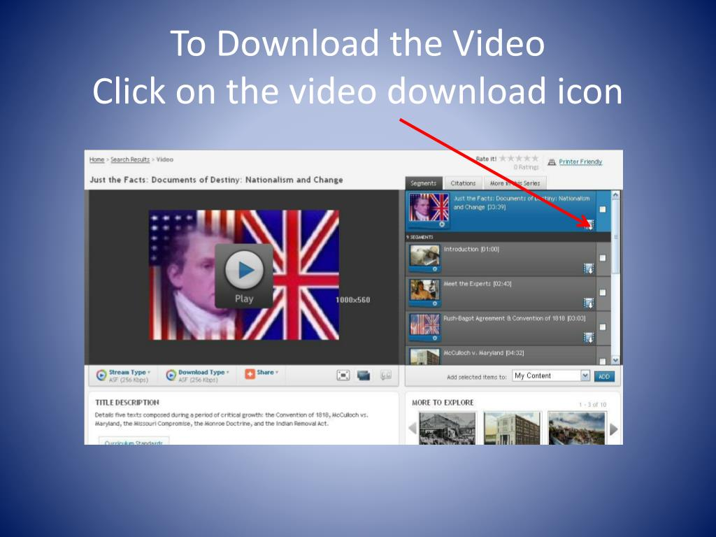 To Download the Video